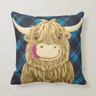 Happy Scottish Highland Cow Cushion