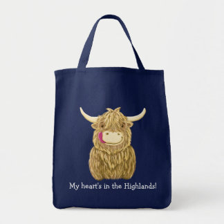 Happy Scottish Highland Cow Grocery Tote Bag