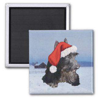 Happy Scottish Terrier  Santa Hat Square Magnet