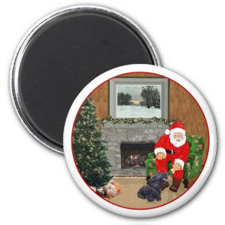 Happy Scottish Terrier Santa Refrigerator Magnets