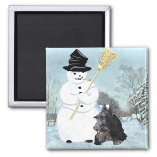 Happy Scottish Terrier Snowman Fridge Magnet