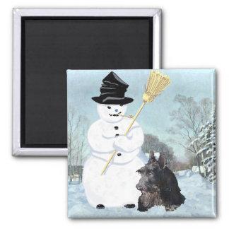 Happy Scottish Terrier & Snowman Square Magnet