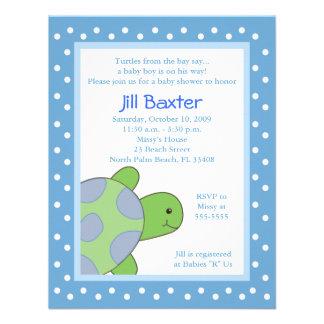 Happy Sea Turtle Blue Baby Shower Invitation