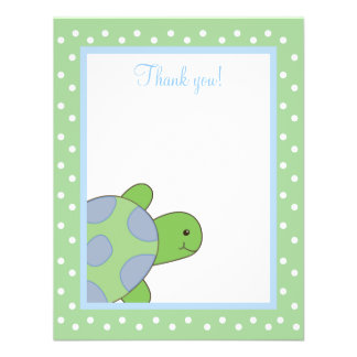 HAPPY SEA TURTLE Green 4x5 Flat Thank you note Personalized Invite
