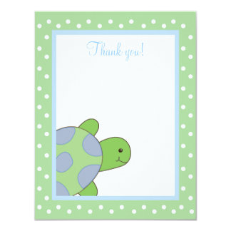 HAPPY SEA TURTLE (Green) 4x5 Flat Thank you note 4.25x5.5 Paper Invitation Card