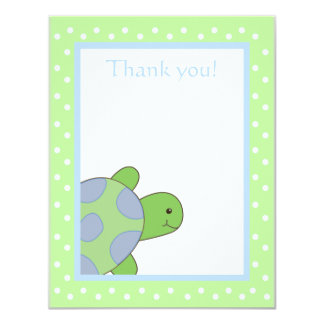 "Happy Sea Turtle Green Thank you note flat card 4.25"" X 5.5"" Invitation Card"