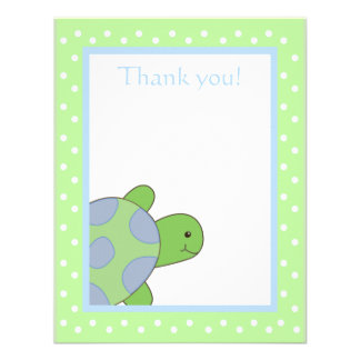Happy Sea Turtle Green Thank you note flat card Invitation