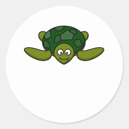 Happy Sea Turtle Round Stickers