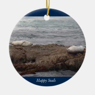 Happy Seals Glass Beach in Fort Bragg California Round Ceramic Decoration