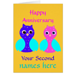 Happy Second Anniversary Cute Owl Couple Customize Greeting Card