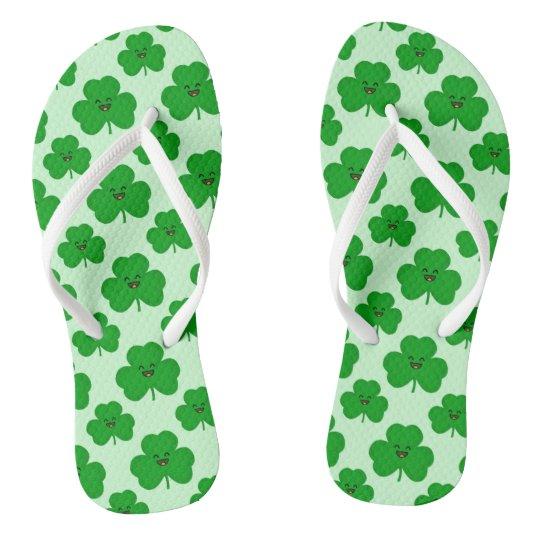 Happy Shamrock Cute Kawaii Flip Flops