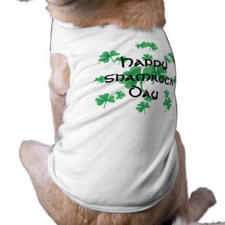 Happy Shamrock Day Sleeveless Dog Shirt