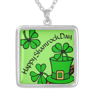 """Happy Shamrock Day"" St. Patrick's Silver Plated Necklace"