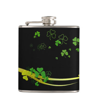 Happy Shamrock Green on Black Hip Flask