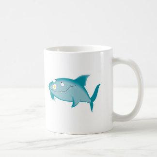 happy shark with flower basic white mug