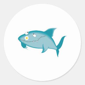 happy shark with flower round sticker