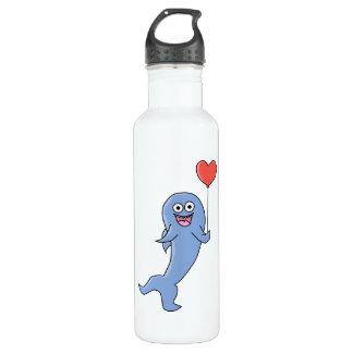 Happy Shark with Heart Shaped Balloon. 710 Ml Water Bottle