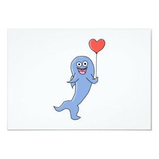 Happy Shark with Heart Shaped Balloon. 9 Cm X 13 Cm Invitation Card
