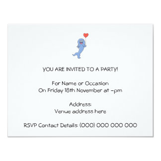 Happy Shark with Heart Shaped Balloon. 11 Cm X 14 Cm Invitation Card