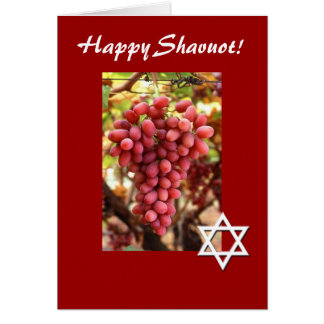 Happy Shavuot-Red Grapes/Star of David Greeting Cards