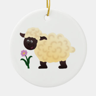 Happy Sheep Round Ceramic Decoration