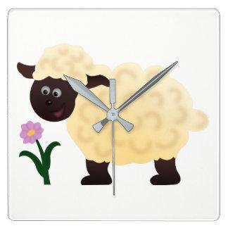 Happy Sheep Square Wall Clock