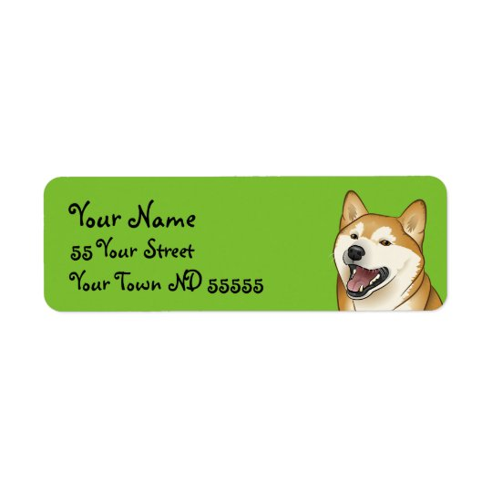 Happy Shiba Inu Dog Japanese Address Labels