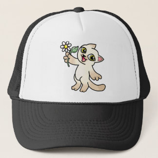 Happy Siamese cat holding Daisy Trucker Hat
