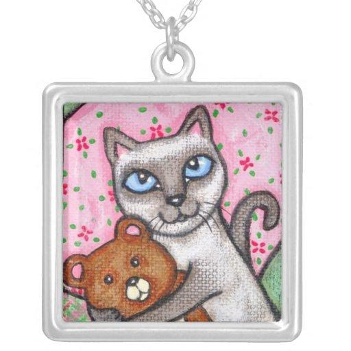 Happy Siamese Cat & Teddy Bear Necklace