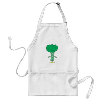 happy silly broccoli cartoon standard apron