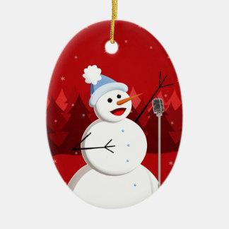 Happy Singing Snowman Christmas Custom Text Christmas Ornament