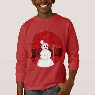 Happy Singing Snowman Christmas Dark Kids T-Shirt