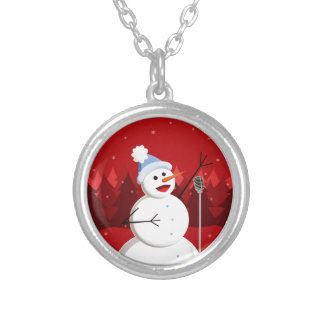 Happy Singing Snowman Christmas Silver Plated Necklace