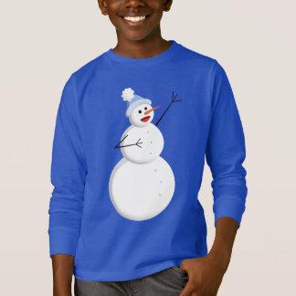 Happy Singing Snowman Kids Dark Long Sleeve T-Shirt