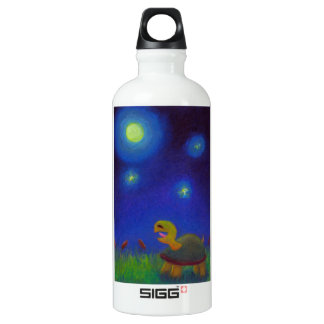 Happy singing turtle drawing cute fun art unique water bottle