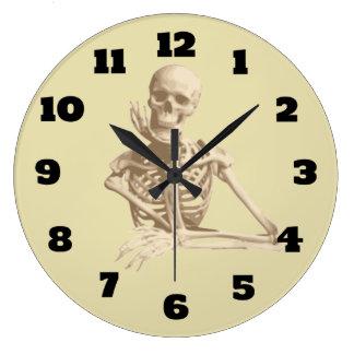 Happy Skeleton Resting His Chin in His Bony Hand Clock