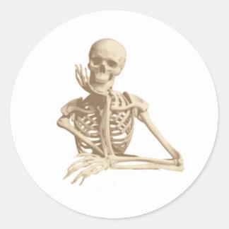 Happy Skeleton Classic Round Sticker