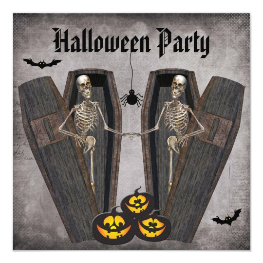 Happy Skeletons in Coffins Halloween Party Card