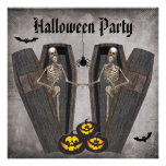 Happy Skeletons in Coffins Halloween Party Personalised Invites