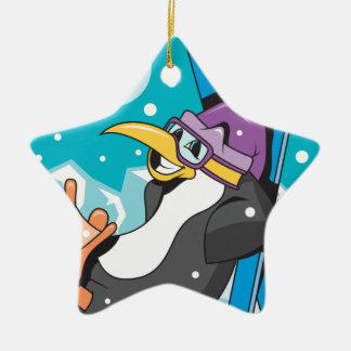 happy skiier penguin christmas ornament