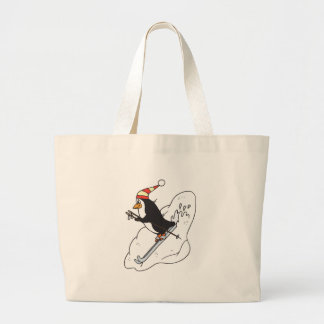 happy skiing penguin large tote bag