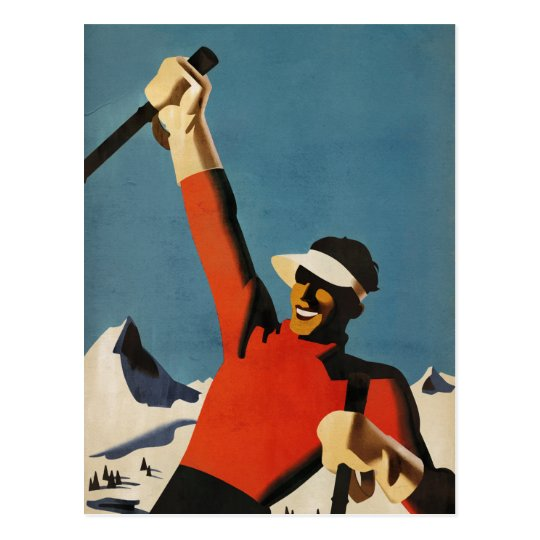 Happy Skiing - vintage style art deco postcard