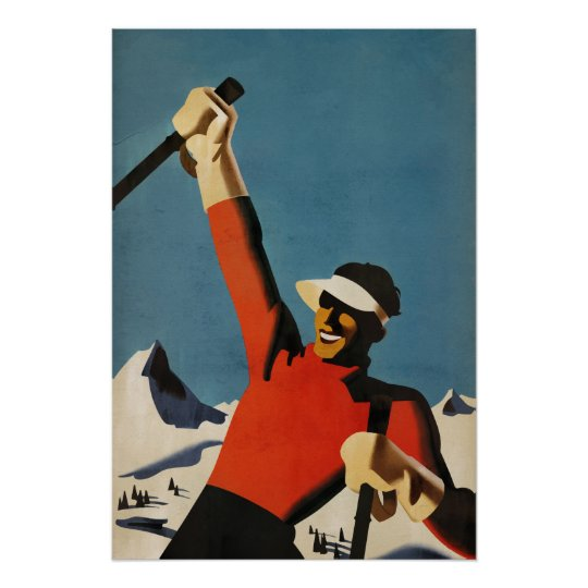 Happy Skiing - vintage style art deco poster