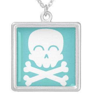 Happy Skull Square Pendant Necklace