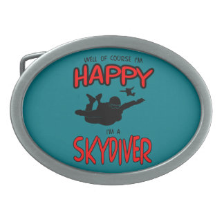 Happy Skydiver (blk) Oval Belt Buckle