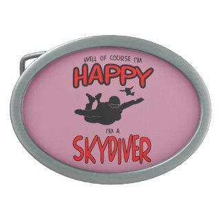 Happy Skydiver (blk) Oval Belt Buckles