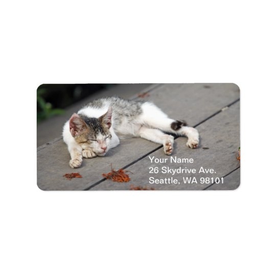 Happy Sleeping Cat Address Label