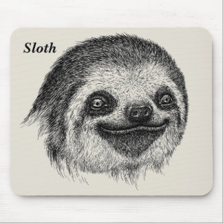 Happy Sloth Face Mouse Mat