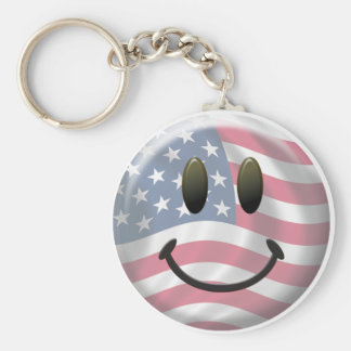 Happy Smiley Face Basic Round Button Key Ring