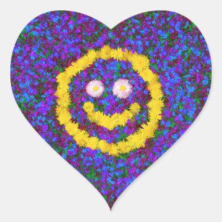 Happy Smiley Face Dandelion Flowers Heart Sticker